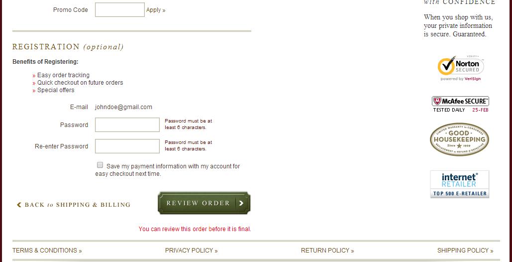 Option Registration Later
