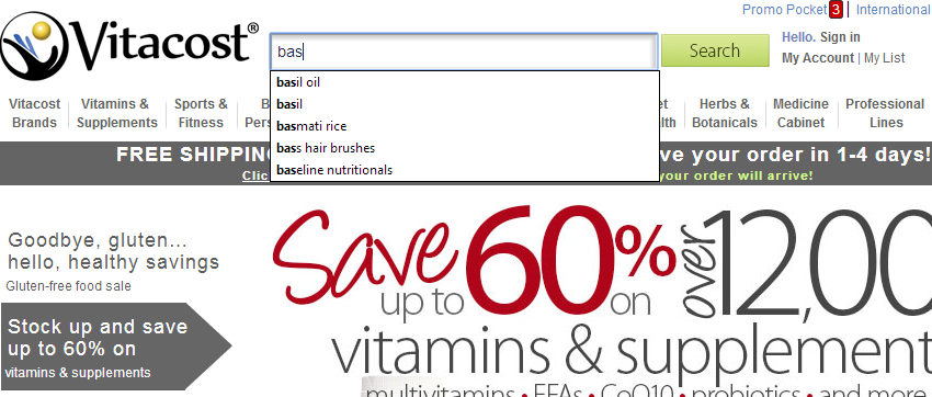 Prominent Search Box with Autocomplete feature