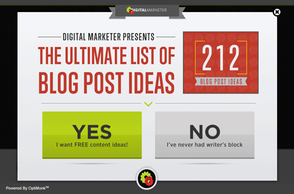 Digital Marketer popup to boost PPC results blog