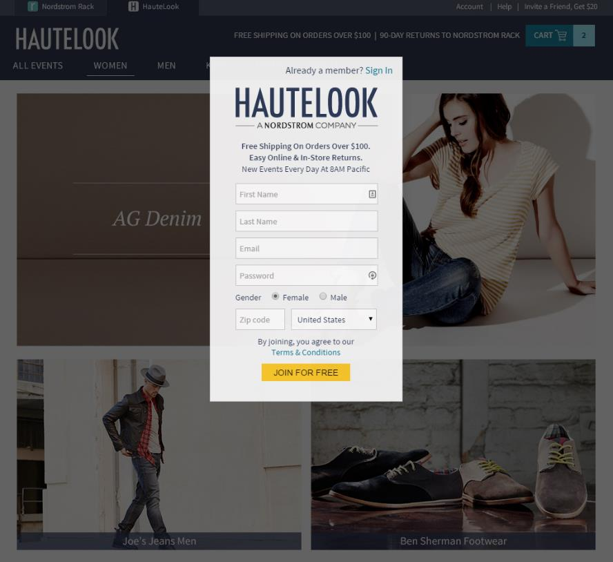 Hautelook segments their visitors based on one or more variables