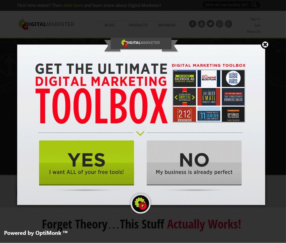 Digitalmarketer uses exit-intent popups