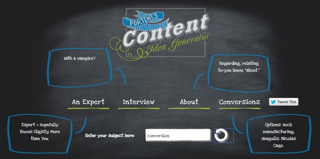 Content Marketing - Portent's Content Idea Generator