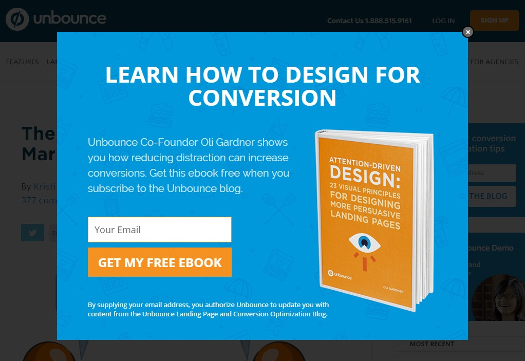 Unbounce uses exit-intent popups
