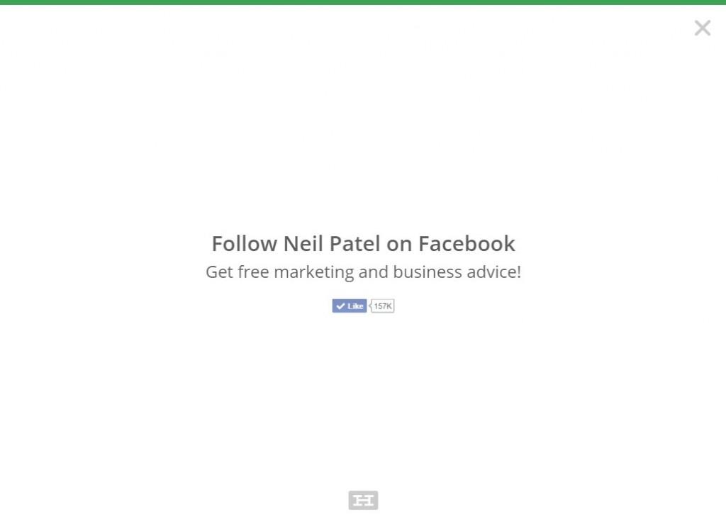 Neil Patel uses exit-intent popups