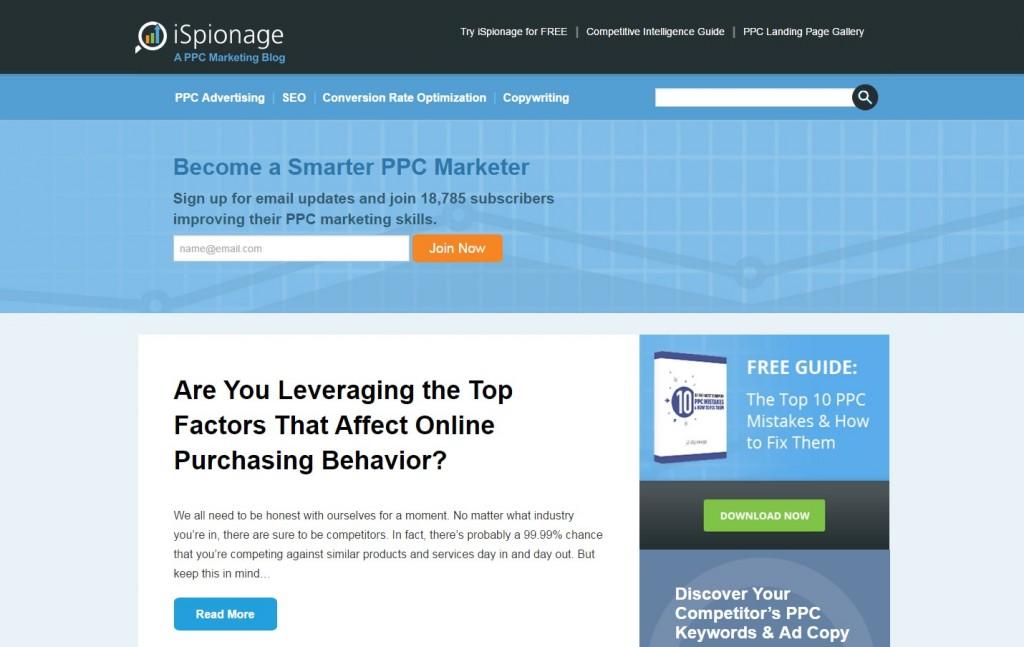 iSpionage blog screenshot