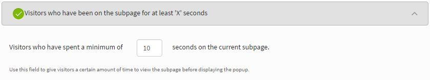 iSpionage popup settings - 10 seconds