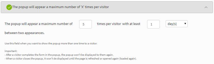 iSpionage popup settings - Maximum 5 times per visitor