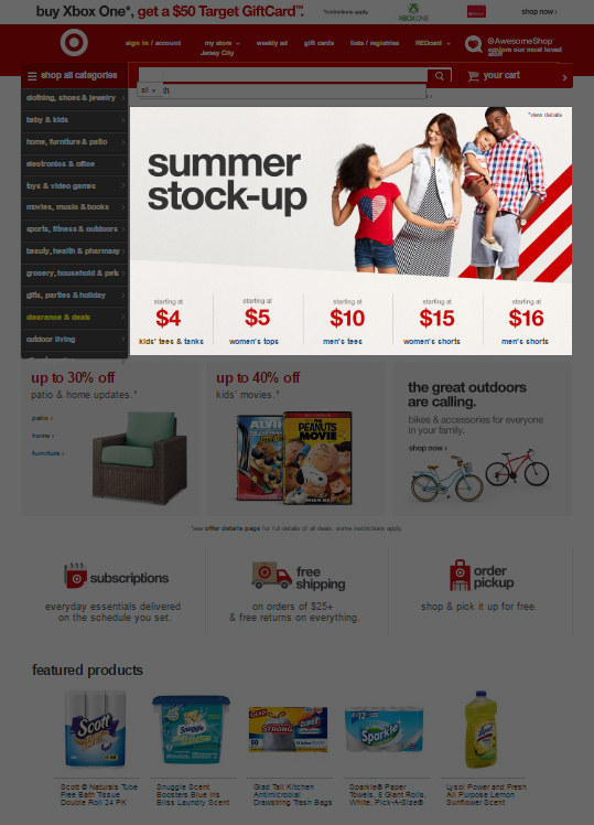 21 - Target - Seasonal offer on home page
