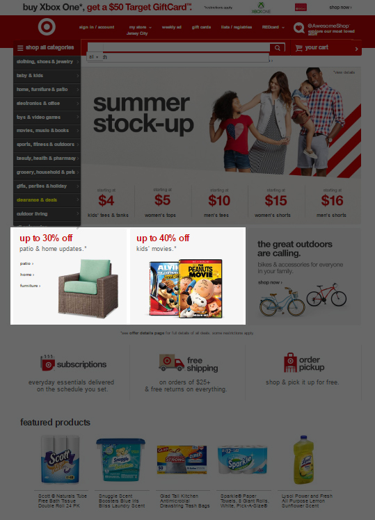 22 - Target - Best offers on home page