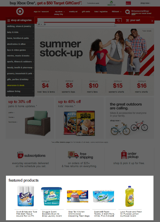 23 - Target - Featured products on home page