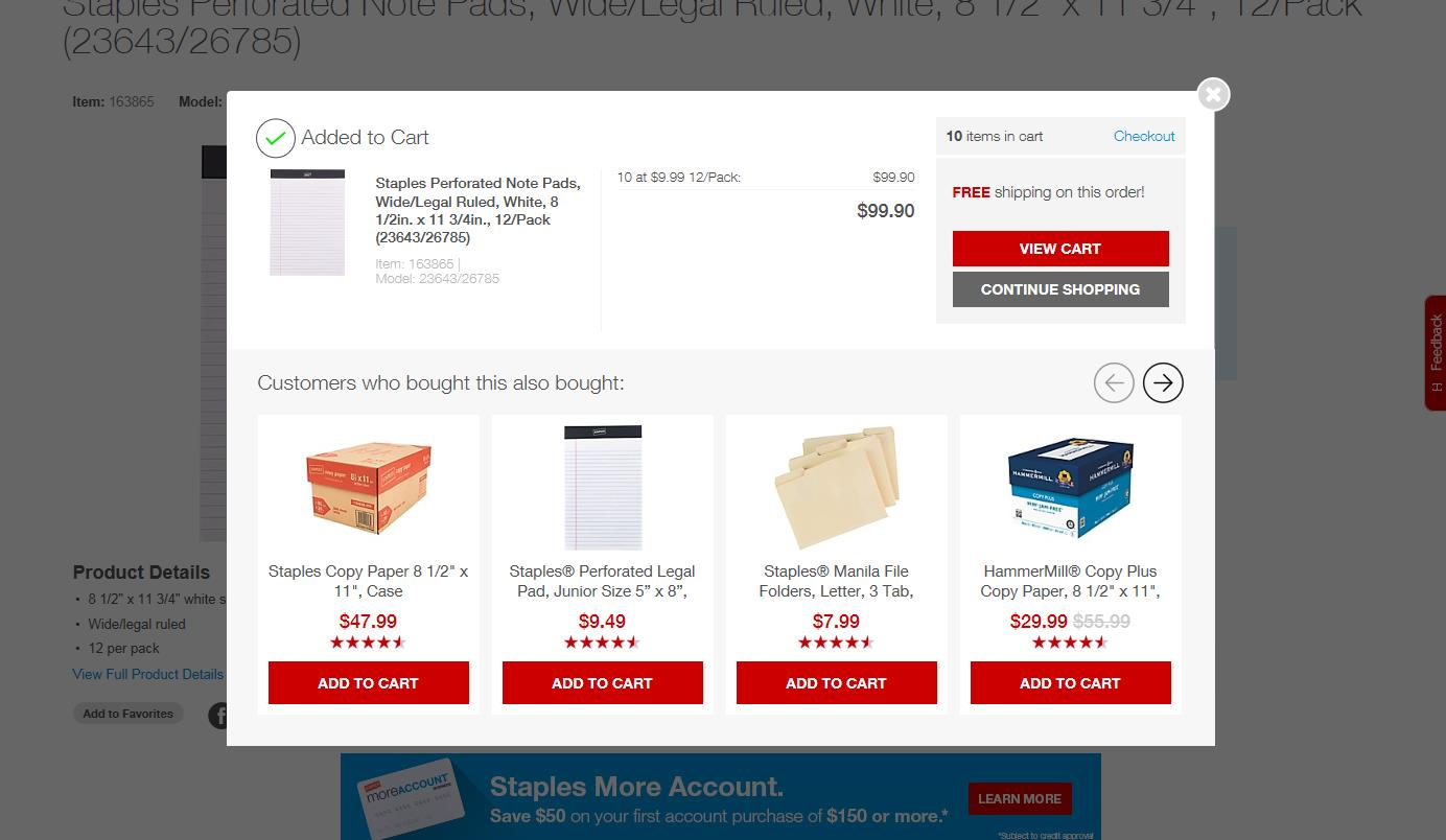 25 - Staples - popup for upselling