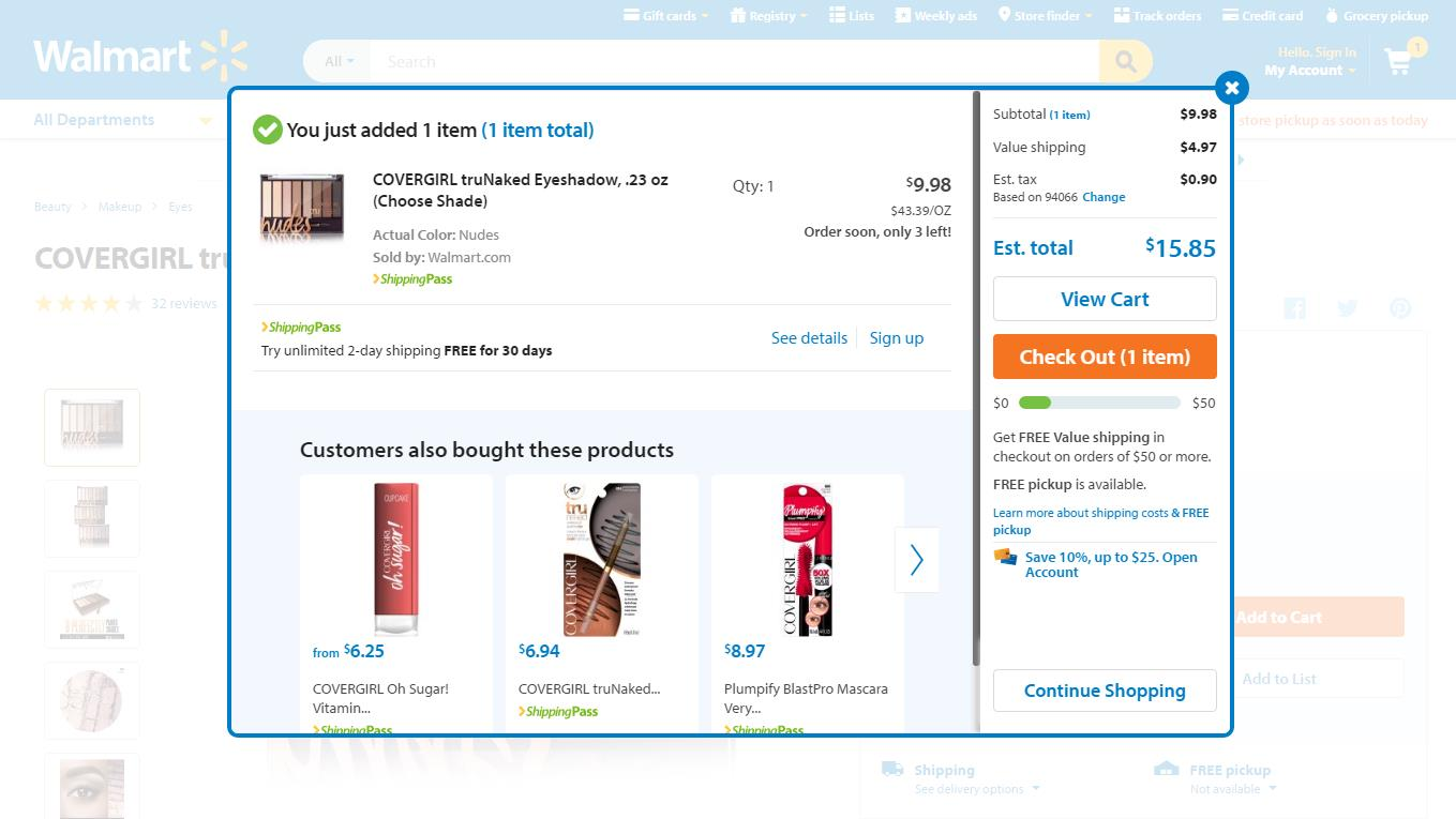 Walmart.com is a great example of how to be transparent with costs