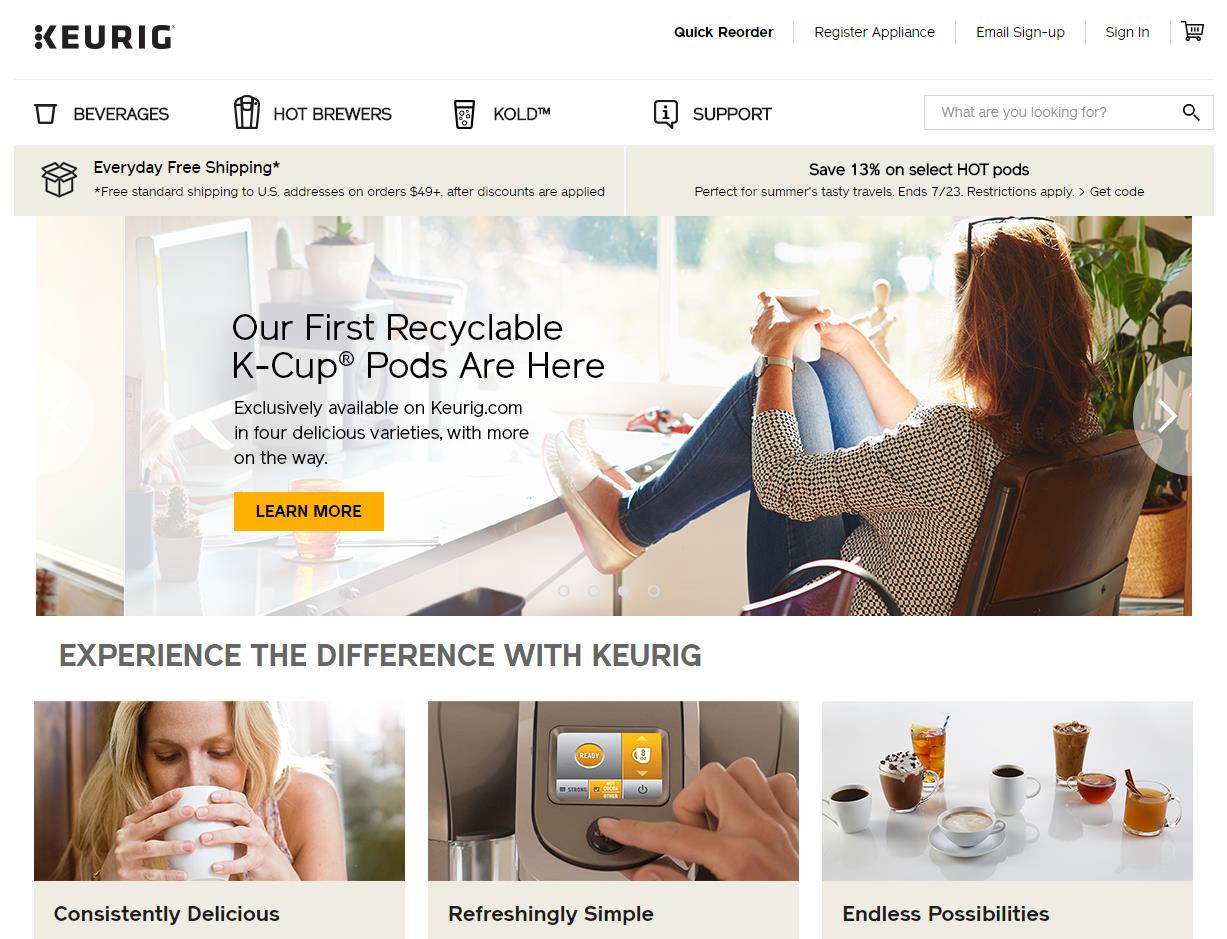 Keurig-homepage-contains-the-free-shipping-message