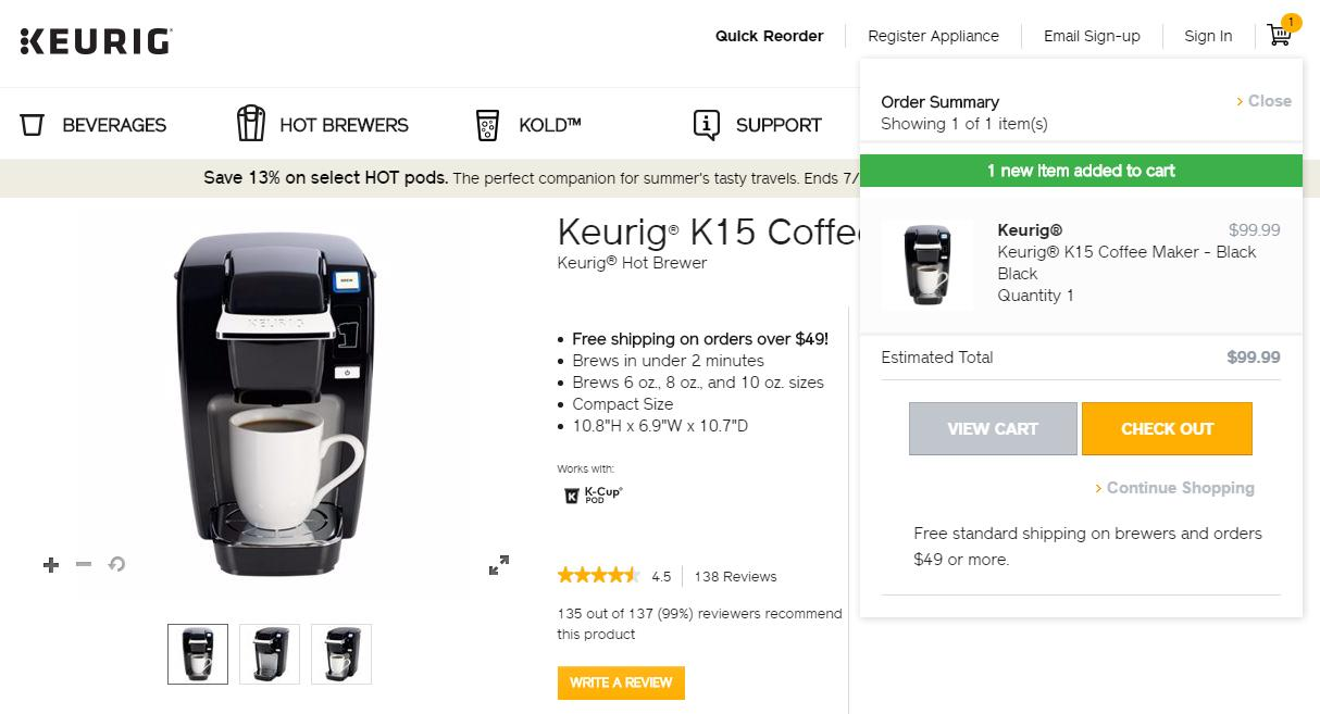 Keurig-product-description-contains-the-free-shipping-message