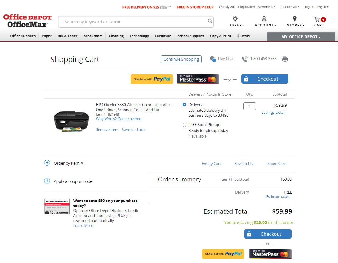 OfficeDepot-allows-chechout-with-PayPal