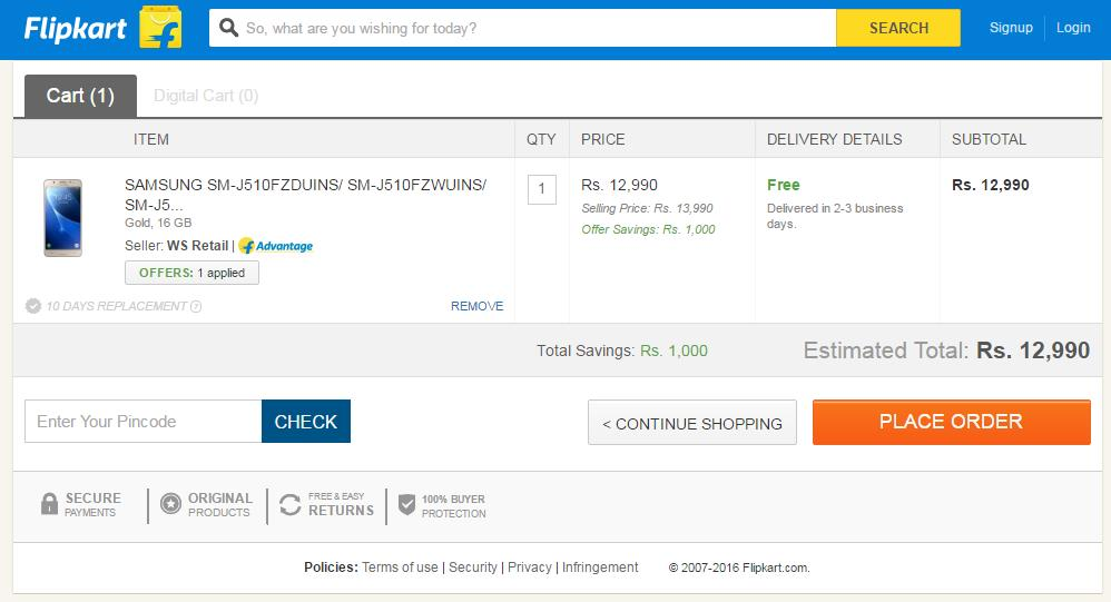 Flipkart-allows-buyers-to-continue-shopping