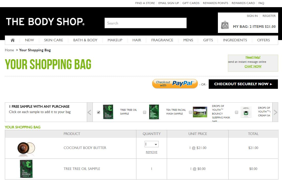 TheBodyShop-provides-free-product-sample