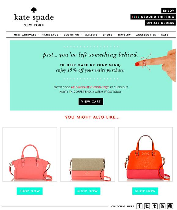 Kate-Spade-email-recovery-after-cart-abandonment