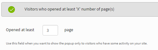 Popup number of pages