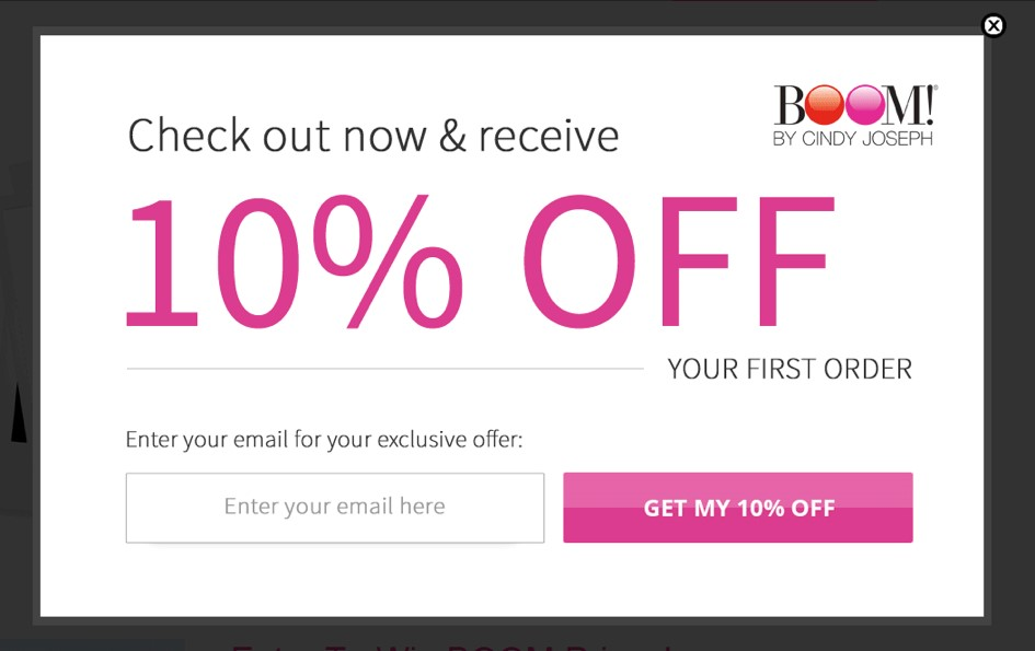 BOOM! popup coupon