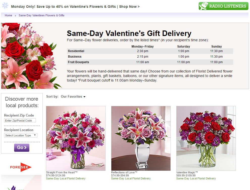 Valentine's day landing page