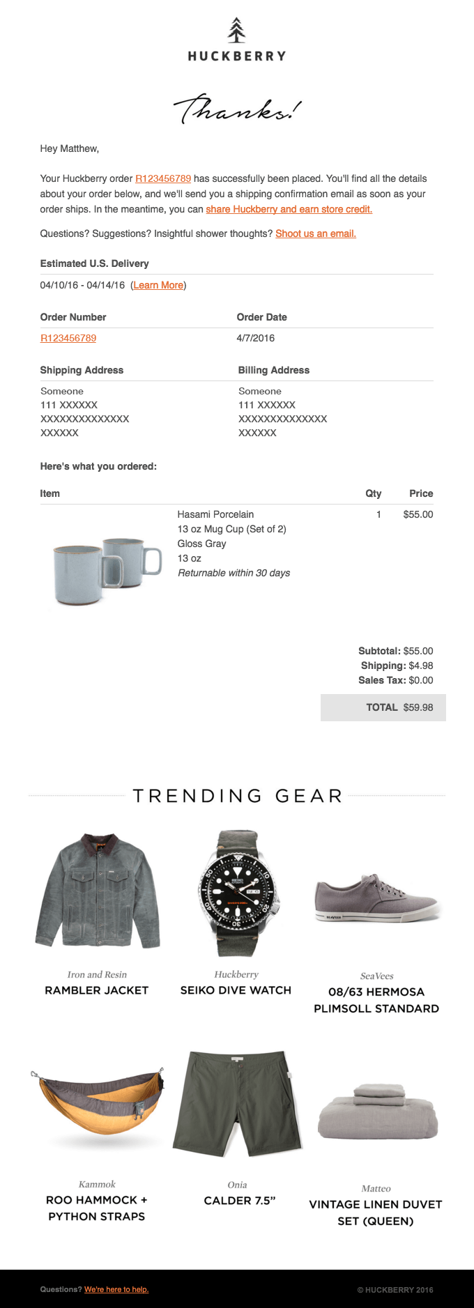 Huckberry order confirmation email