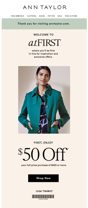 Ann Taylor welcome email