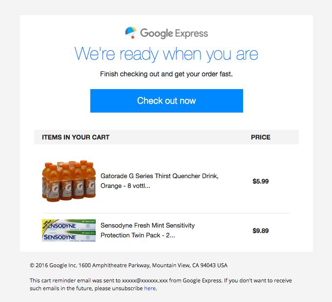 Google Express cart abandonment email