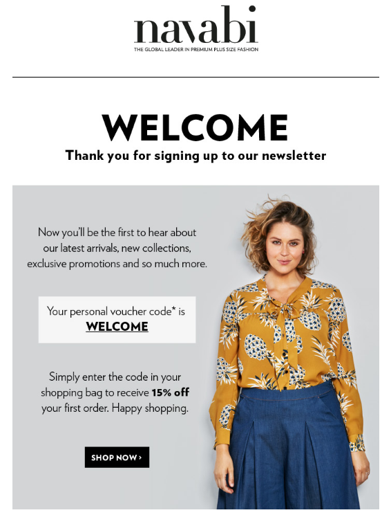 SWIPE Ecommerce Email Templates Real Examples - Welcome email template for new customer
