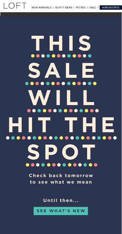 Loft promotional email