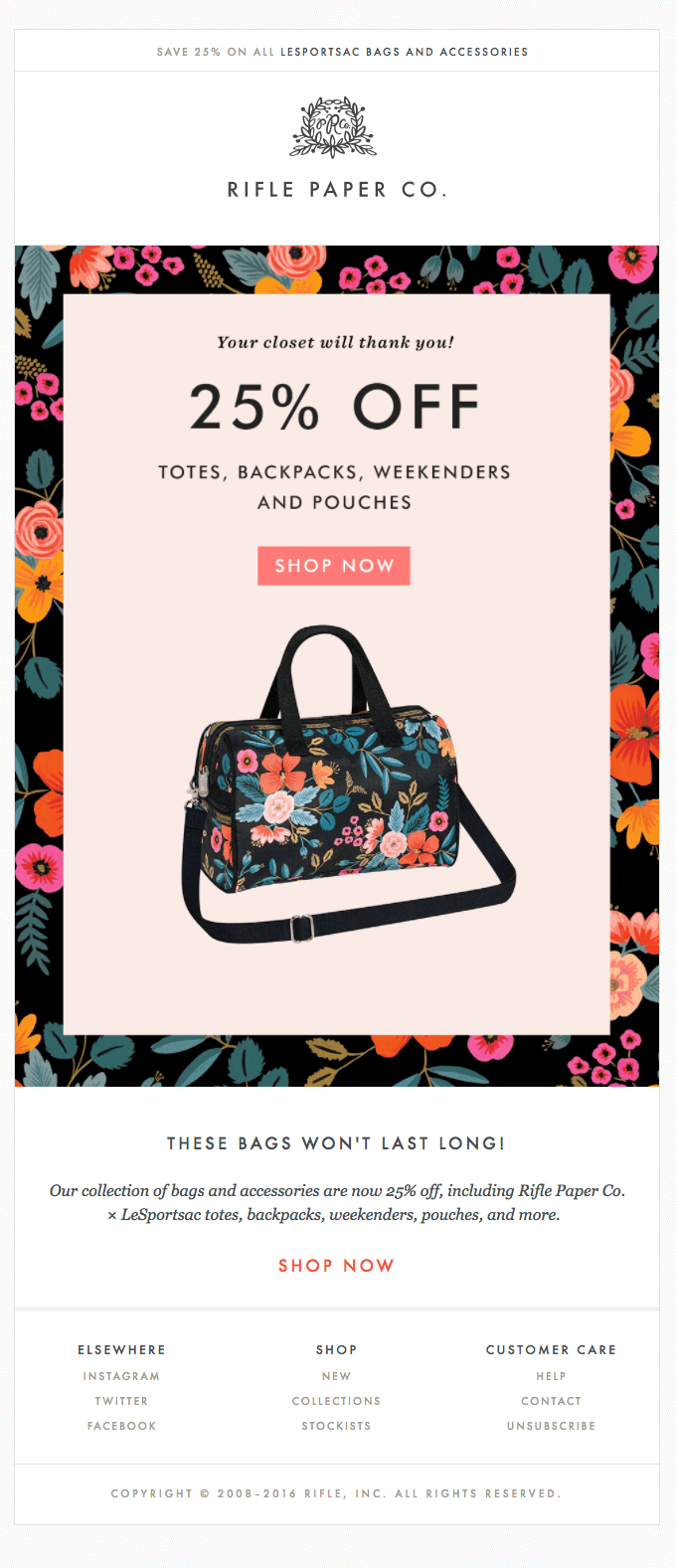 Rifle Paper Co. promotional email