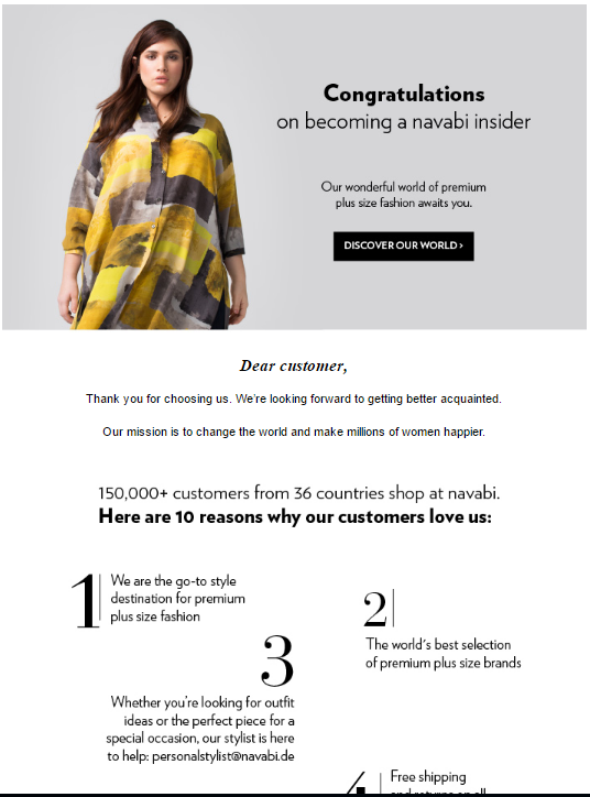 Navabi welcome email