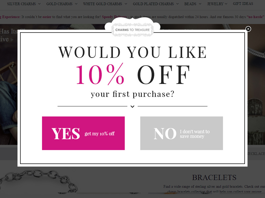 20 Popup Examples for Sales Promotion - Charmstotreasure
