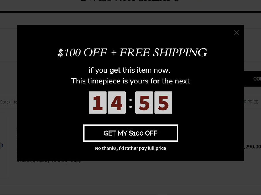 20 Popup Examples for Sales Promotion - Swisswatchexpo