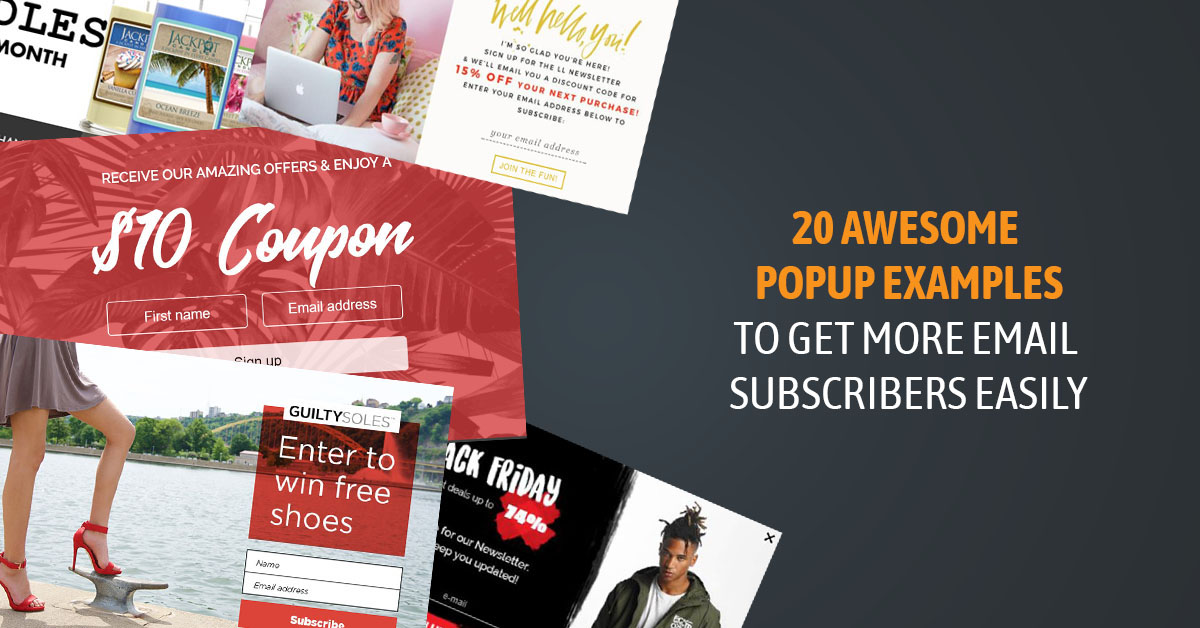 popup examples to get more email subscribers