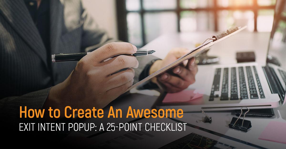Exit Intent Popup Checklist
