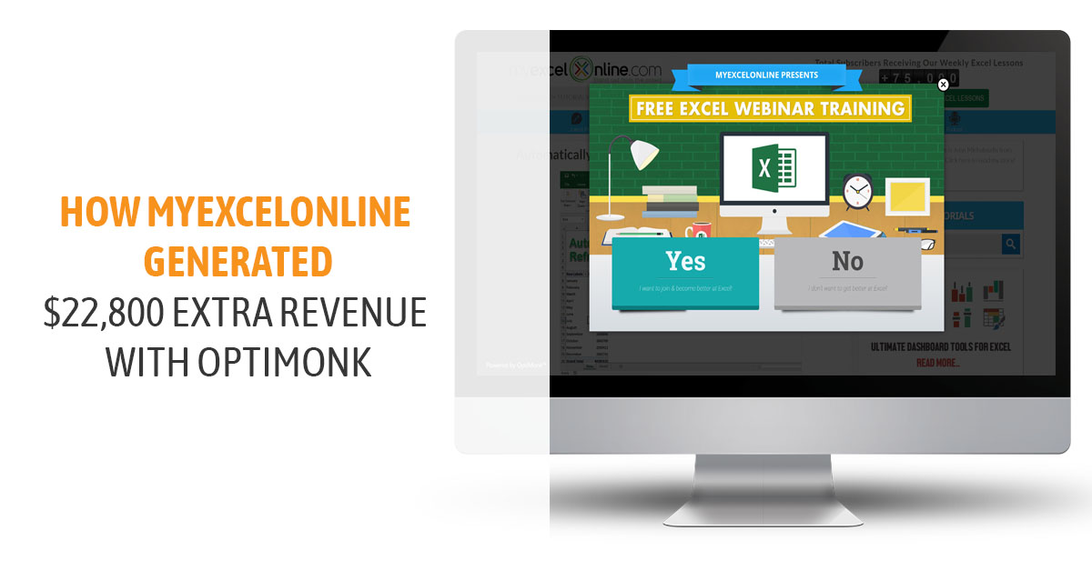 How MyExcelOnline generated $22,800 extra revenue with OptiMonk