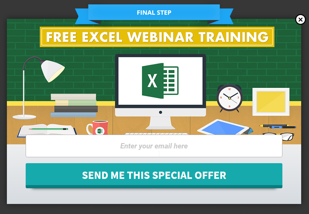MyExcelOnline special offer popup