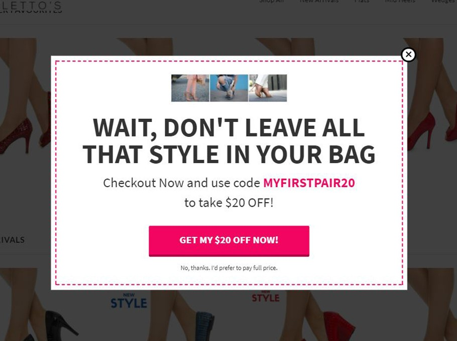 Popup examples to reduce cart abandonment