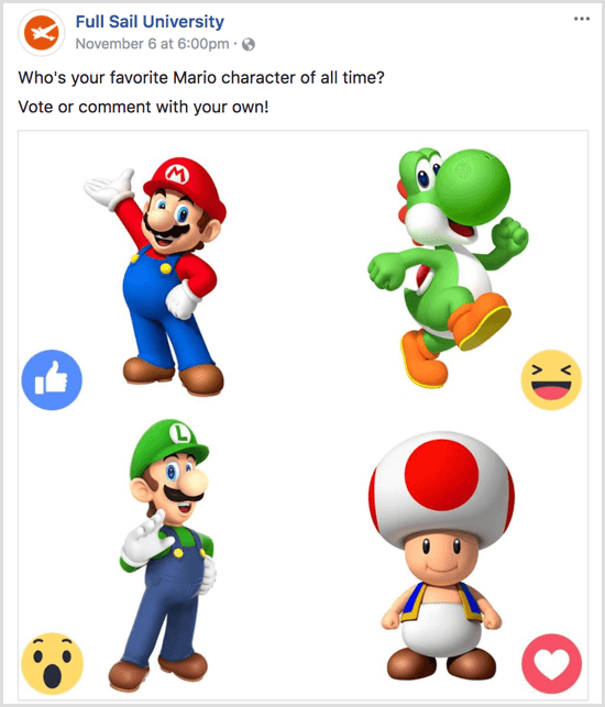 Facebook poll with reactions