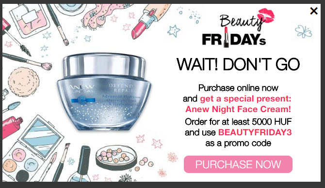 AVON Black Friday cart abandonment popup