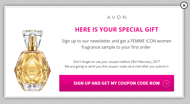 AVON building newsletter list popup