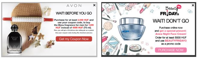 AVON Black Friday popup A/B test