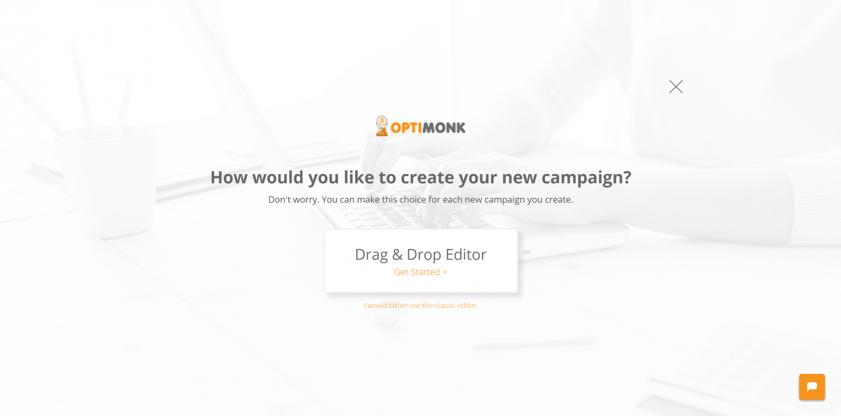 OptiMonk Drag & Drop editor