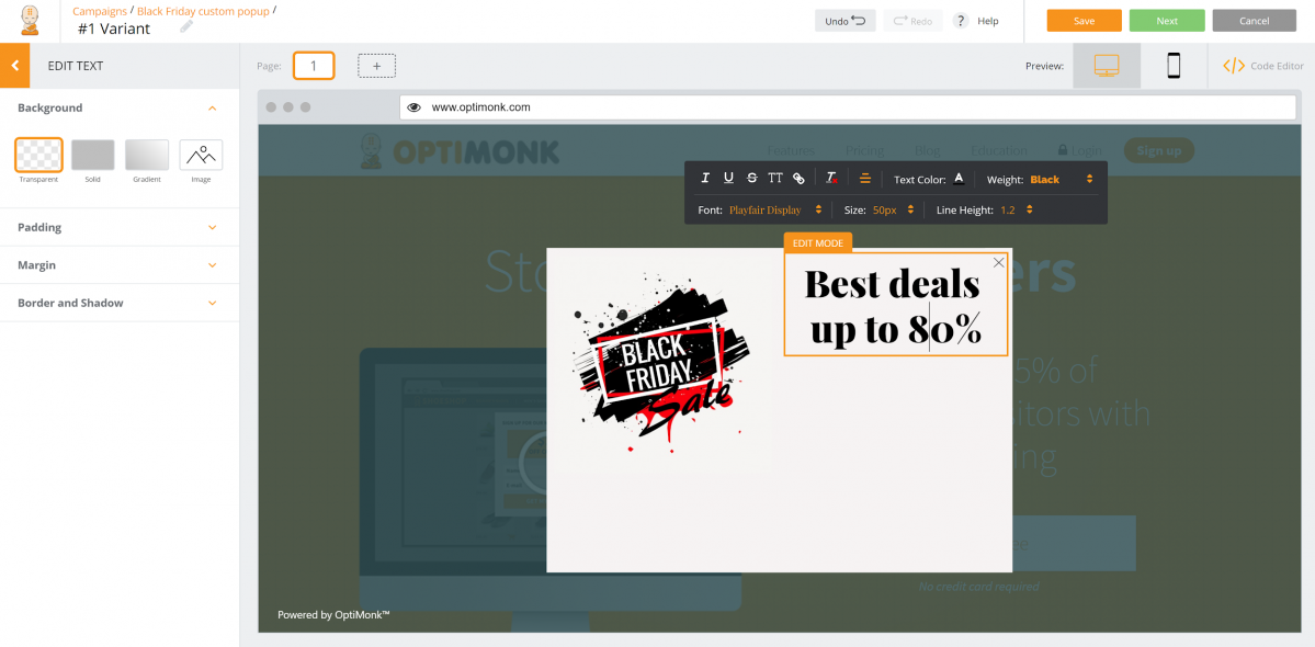 Create a Black Friday custom popup