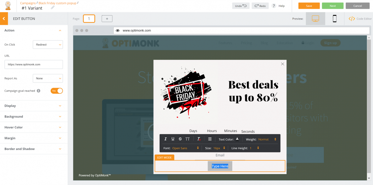 How to Create a Custom Popup by Using OptiMonk