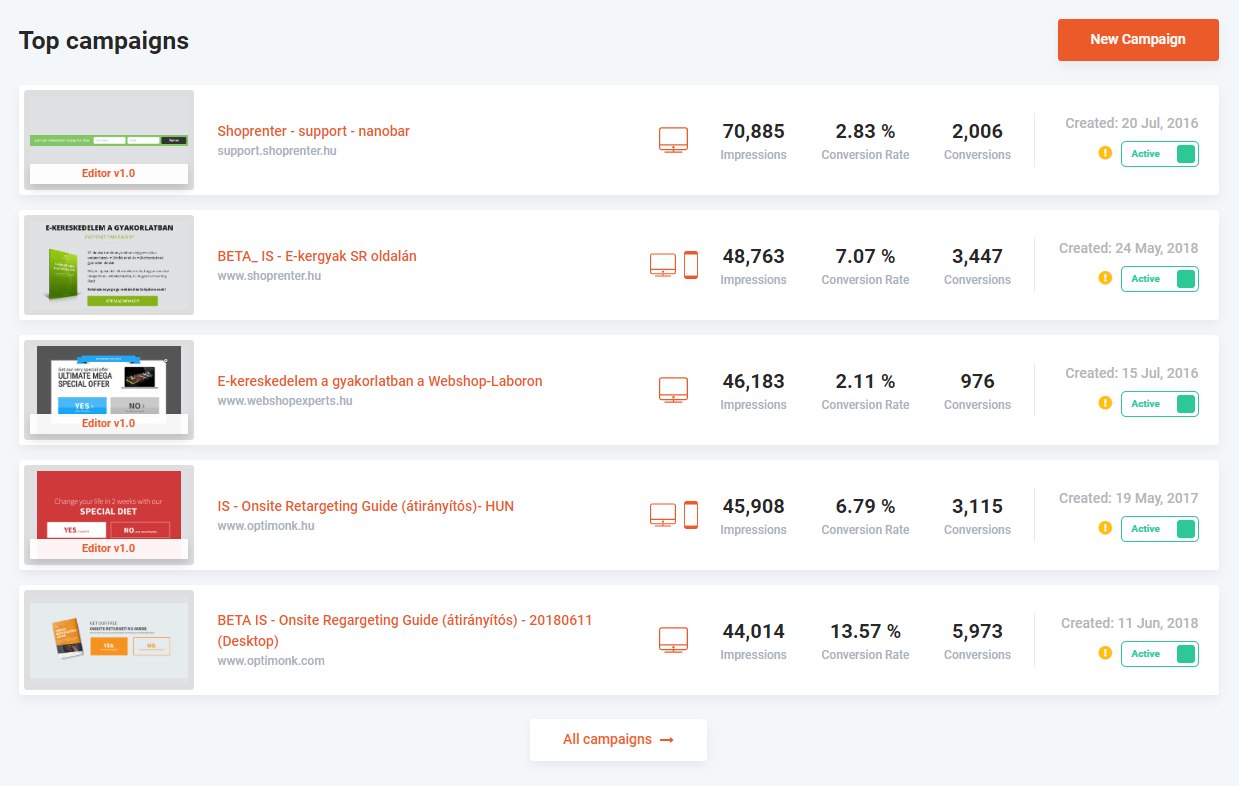 Top campaigns for quick access